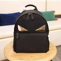 Classic Fendi Backpacks Genuine Leather Bags Womens Zipper Shoulder Bags Ladies - Black Gold