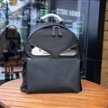 Classic Fendi Backpacks Genuine Leather Bags Womens Zipper Shoulder Bags Ladies - Black Silver