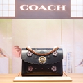 Coach Classic Elegant Shoulder Genuine Leather Ladies Hasp Zipper Bags Flower Chains Top-Handle - Black