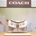 Coach Classic Elegant Shoulder Genuine Leather Ladies Hasp Zipper Bags Flower Chains Top-Handle - White