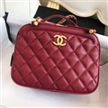 Criss-Cross Chanel CC Shoulder Genuine Leather Chains Ladies Zipper Normcore Bags - Red