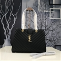 Criss-Cross YSL Shoulder Genuine Leather Chains Ladies Zipper Hasp Normcore Bags - Black