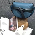 Fashion Beautiful Loewe Classic Bow Normcore Genuine Leather Hasp Crossbody Lady Bags - Blue