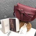Fashion Beautiful Loewe Classic Bow Normcore Genuine Leather Hasp Crossbody Lady Bags - Claret