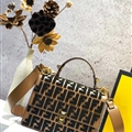 High Quality Fendi Crossbody Genuine Leather Womens Fashion Hasp Bags Letter - Brown Black