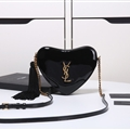 High Quality Heart YSL Tassel Chains Crossbody Genuine Leather Womens Fashion Zipper Bags - Black