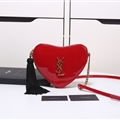High Quality Heart YSL Tassel Chains Crossbody Genuine Leather Womens Fashion Zipper Bags - Red