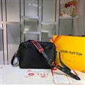 High Quality LV Flower Casual Genuine Leather Fashion Zipper Sports Crossbody Shoulder Bags - Black