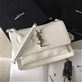 High Quality YSL Crossbody Genuine Leather Womens Chains Casual Fashion Classic Hasp Bags - White