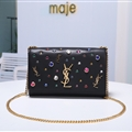 High Quality YSL Crossbody Genuine Leather Womens Chains Fashion Hasp rhinestone Bags - Black
