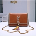 High Quality YSL Shoulder Genuine Leather Womens Chains Ladies Fashion Hasp TasseL Bags - Brown