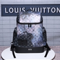 LV Genuine Leather Bags Womens Fashion Ladies Stars Zipper Bags Backpacks - Black