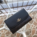 Top Coach Classic Beautiful Genuine Leather Bags Womens Wallets Hasp Ladies Banquet Purse Handbag - Black
