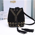 YSL Beautiful Classic Casual Lady Deerskin Womens Buckets Crossbody String Rivet Tassel Bags - Black