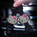 1 Pair Crystal Rhinestone Hello Kitty Seat Back Holder Bag Purse Hangers Auto Storage Hooks - White