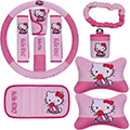 10pcs Hello Kitty Car Seat Interior Accessories Plush Universal Steering Wheel Cover Seat Belt Cover - Pink