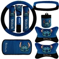 10pcs Stitch Car Seat Interior Accessories Plush Universal Steering Wheel Cover Seat Belt Cover - Blue