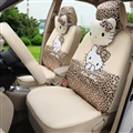 18pcs Hello Kitty Car Seat Interior Accessories Polyester Leopard Car Interior Sets - Beige