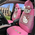 18pcs Hello Kitty Car Seat Interior Accessories Polyester Leopard Car Interior Sets - Pink