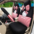 18pcs Hello Kitty Car Seat Interior Accessories Polyester Stripe Car Interior Sets - Black Red