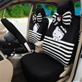 18pcs Hello Kitty Car Seat Interior Accessories Polyester Stripe Car Interior Sets - Black White