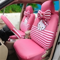 18pcs Hello Kitty Car Seat Interior Accessories Polyester Stripe Car Interior Sets - Pink