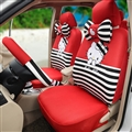 18pcs Hello Kitty Car Seat Interior Accessories Polyester Stripe Car Interior Sets - Red