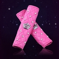 2pcs Crown Car Safety Seat Belt Covers Women Diamonds Pretty Leather Shoulder Pads - Pink