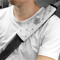 2pcs Crown Car Safety Seat Belt Covers Women Diamonds Pretty Leather Shoulder Pads - White