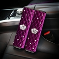 2pcs Crown Car Safety Seat Belt Covers Women Diamonds Pretty Plush Shoulder Pads - Purple