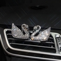 Abs Swan Beautiful Gorgeous Diamonds 2pcs Car Air-Purify Clip Auto Air Out Perfume Clip - White