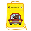 Brown Bear Waterproof Kids Car Anti-Kick Pad Seat Back Storage Bag Touchable Screen Organizer Protector - Yellow