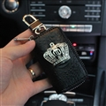 Classic Crown Genuine Leather Wallet Car Key Cover Case AirPods Bags - Black