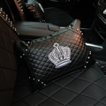 Cool Crown Genuine Leather Alloy Rivet Car Back Cushion Waist Rectangle Pillow - Black