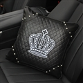 Cool Crown Genuine Leather Alloy Rivet Car Back Seat Support Square Wasit Pillow - Black