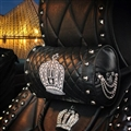 Cool Crown Genuine Leather Alloy Rivet Car Neck Pillows Support Headrest - Black