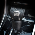 Crown 1pcs Crystal Auto Gear Covers Leather Diamond Shift Cover Auto Interior Decro - Black