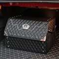 Crown 1pcs Crystal Auto Storage Trunk Leather Storage Box Rivets Auto Storage Bag - Black
