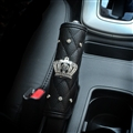 Crown 1pcs Crystal Car Handbrake Covers Leather Diamond Brake Case Car Interior Decro - Black