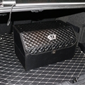 Crown 1pcs Crystal Car Storage Trunk Leather Storage Box Rivets Auto Storage Bag - Black