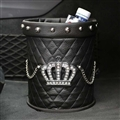 Crown 1pcs Crystal Car Storage Bucket Leather Storage Box Rivets Auto Storage Bag - Black