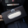 Crown Bling Leather Automotive Tissue Paper Box Holder Case Sun Visor Hanging Tissue Bag - Black