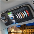 Crown CD Multifunction Real Leather Car Sun Visor Clip Card Pen Bag Car Accessories - Black