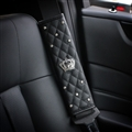 Crown Car Safety Seat Belt Covers Women Diamonds Pretty Leather Shoulder Pads - Black