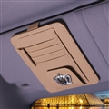Crown Cool Multifunction Real Leather Car Sun Visor Clip Card Pen Bag Car Accessories - Beige