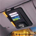 Crown Cool Multifunction Real Leather Car Sun Visor Clip Card Pen Bag Car Accessories - Black