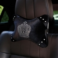 Crown Crystal Plush Car Neck Pillow Woman Universal Warm Headrest 1pcs - Black