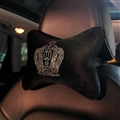 Crown Crystals Plush Car Neck Pillow Woman Universal Warm Headrest 1pcs - Black