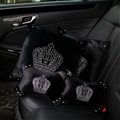 Crown Diamond Plush Car 2pcs Hold Pillow 2pcs Neck Pillow Woman Universal Interior Sets - Black