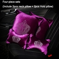 Crown Diamond Plush Car 2pcs Hold Pillow 2pcs Neck Pillow Woman Universal Interior Sets - Purple